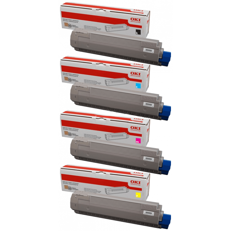 4 Pack OKI C810 44059133-44059136 Genuine Toner Cartridges [1C,1M,1Y,1BK]