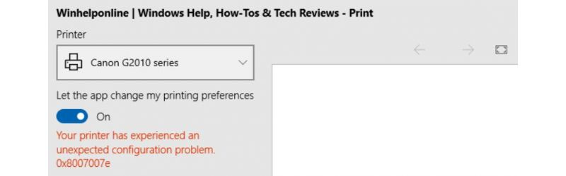 Microsoft Edge printing issue (Error 0x8007007e)