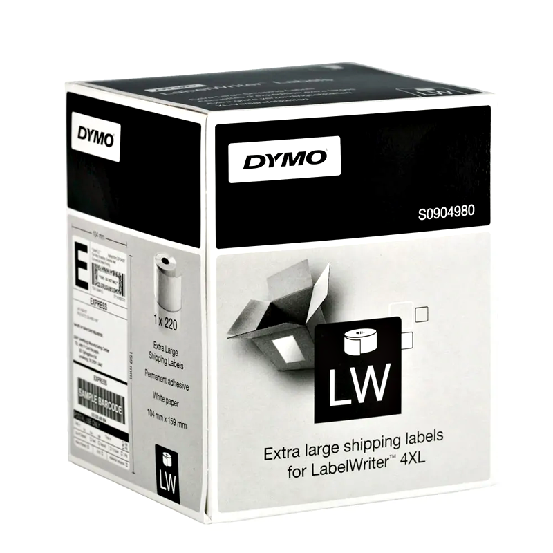 Dymo SD0904980 Genuine White High Capacity Shipping Label Roll 104mm x 159mm (220 labels/roll)