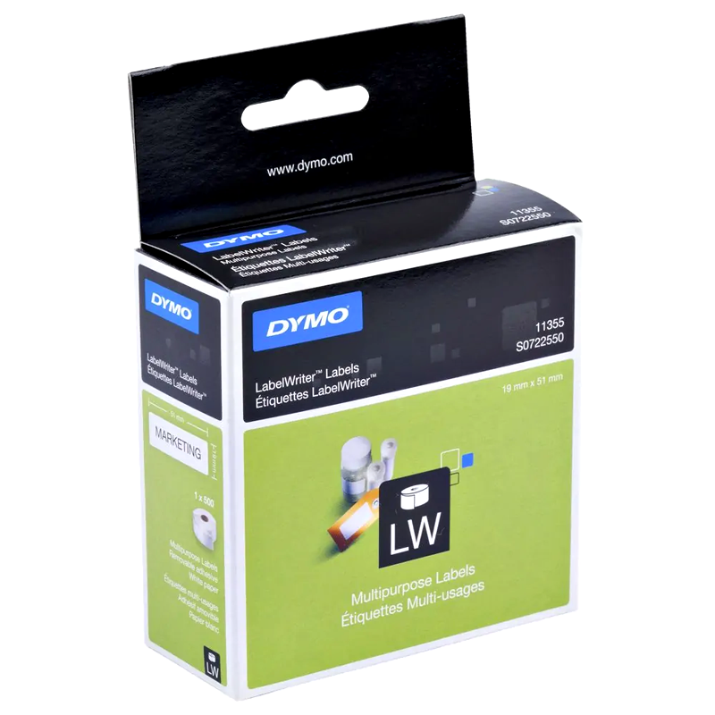 Dymo SD11355 Genuine White Label Roll 19mm x 51mm (500 labels/roll)