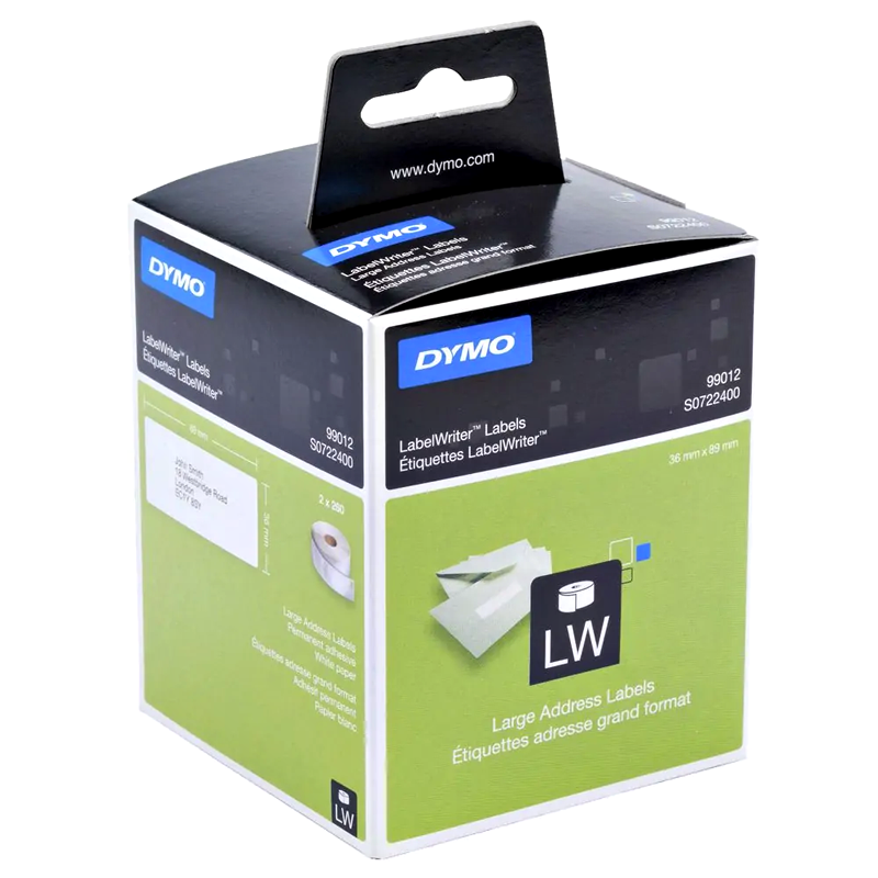 Dymo SD99012 Genuine White Address Label Roll 36mm x 89mm (260 labels/roll)