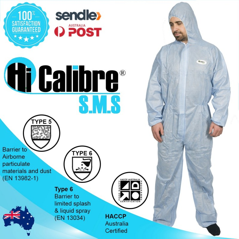 """Blue """"High Calibre"""" SMS Type 5 & 6 Disposable Coveralls Overalls"""