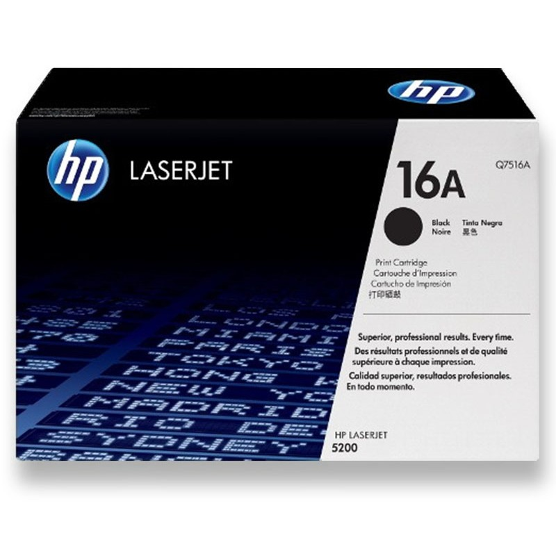 HP Genuine 16A Q7516A Black Toner Cartridge 12,000 Pages