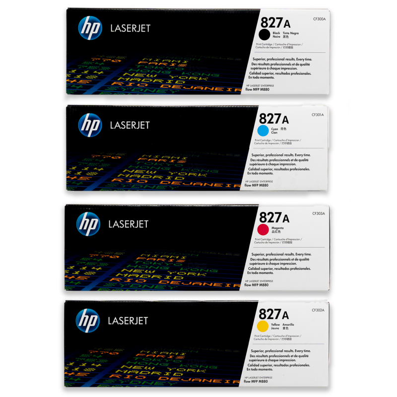 4 Pack HP 827A Genuine Toner Cartridges CF300A-CF302A [1BK, 1C, 1M, 1Y]