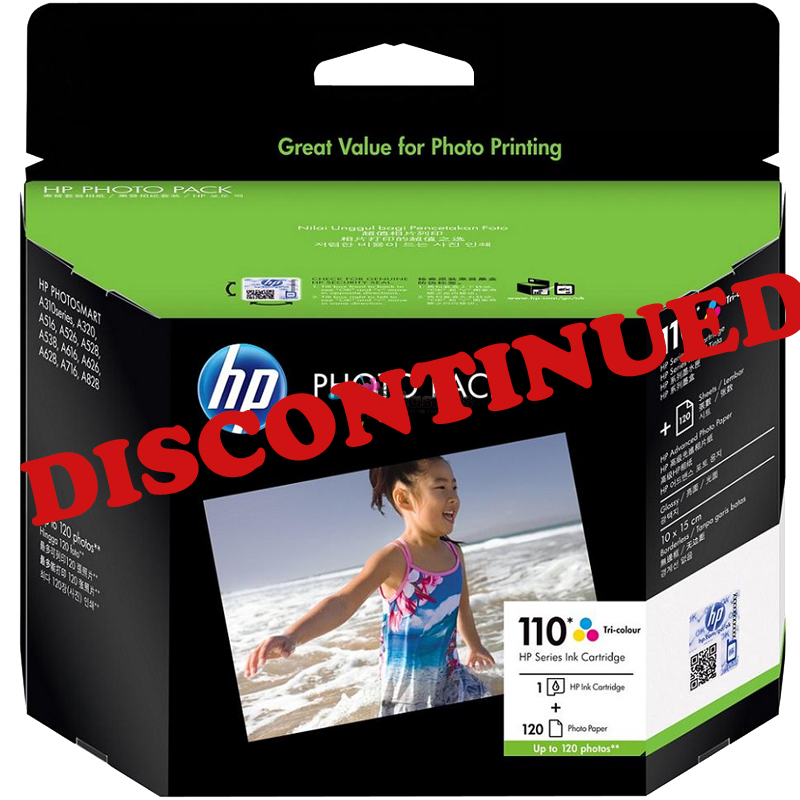 2-Pack HP #110 Colour Ink Cartridge Q8700AA + 120 Pack 6″ x 4″ Paper (Genuine) [DISCONTINUED]