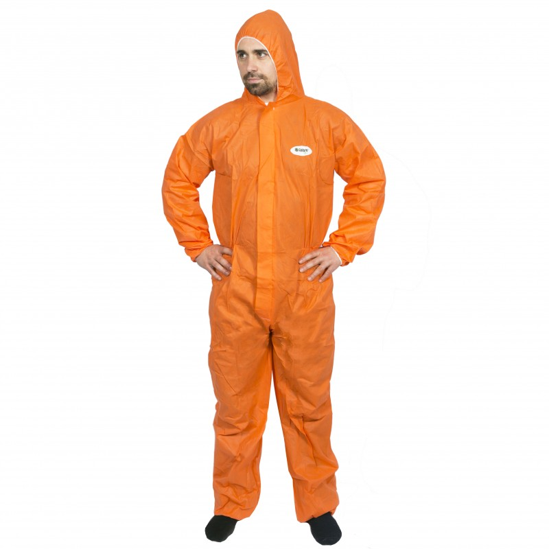 """Orange """"High Calibre"""" SMS Type 5 & 6 Disposable Coveralls Overalls (300422) - Large"""